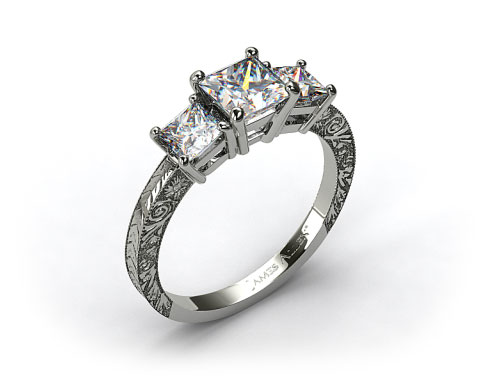 18kt White Gold Engraved Three Stone Princess Diamond Engagement Ring
